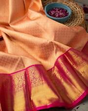 Kanchipuram Silk Saree Peach Color Sari Jacquard Floral Gold Zari Ethnic Wear