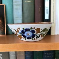 2 Section Pottery Bowl Signed Artist Bisque Cobalt Blue Flower