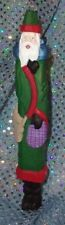 Folk Art Woodsman Pencil Santa Claus Wood Hand Carved & Painted Signed Dated