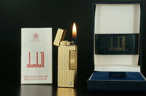 Dunhill Rollagas Lighter  Gold plated Rare Working #B82