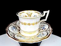 "H&R DANIEL ANTIQUE OLD ENGLISH ROYAL FLUTE GILDED 2 1/8"" CUP & SAUCER 1822-46"