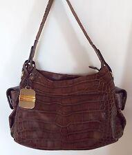 B MAKOWSKY Brown Moc Croc Leather Purse Handbag Shoulder Bag