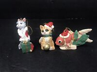 Vintage Kurt Adler Christmas Tree Hanging Ornaments 2 Cats 1 Fish Nice