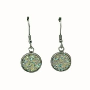 ROUND GLASS STAINLESS STEEL HOOP DROP EARRINGS 12MM DRUZY CABOCHON WHITE
