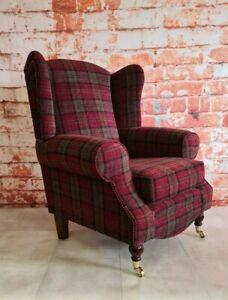 Accent Wing Back Queen Anne Cottage Chair Lana Red Tartan Dark Wood Castor Legs
