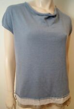 FABIANA FILIPPI Blue & Cream 100% Cotton Round Neck Short Sleeve Top UK12