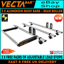 (SWB = MEDIUM ROOF) 3 x Vecta Van Roof Rack Bars + Roller Ford Transit 2000-2014