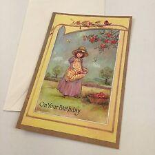 Vintage Greeting Card Birthday Girl Picking Apples