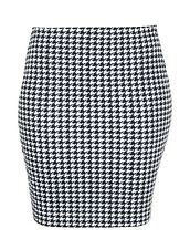 Pencil Skirt Dogtooth printed (Made in the UK)