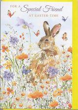 Spring Garden Bunny Special Friend Easter Card – Floral Illustrated Artwork