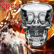2pc GLASS CRYSTAL Skull Head Vodka Shot Whiskey Wine Bar Glass Drink Decanter AB