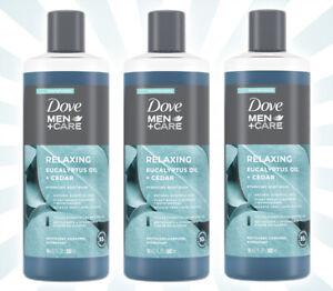 3 Dove Men+Care Body Wash Eucalyptus Oil + Cedar 18 OZ