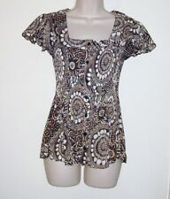 """Sere Nade Brown & White Pleated Button Down Blouse S  Bust 32"""" Length 23 1/2"""""""
