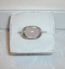 FANTASTIC LAVENDER JADE RING SET IN 10K WHITE GOLD BEADED AREA AROUND ONE DIA.