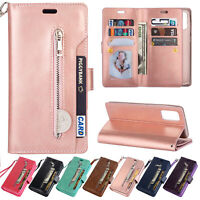 For Samsung Galaxy A51 A71 Case Zipper Strap Wallet Flip Leather Stand Cover