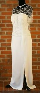 NWT  Davids Bridal Long Off White Ivory Wedding Gown Sheath Lace Beaded Size 12