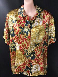 Baroque Silk Blouse Shirt Top Size 12 L