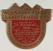 Foil Poster Stamp Mountain States Luber Dealers Assn. Convention 1939 Denver Co