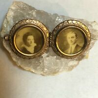Antique Victorian Gold Plated Double Photograph Portrait Pin or Brooch
