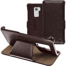 Cubierta de cuero auténtico Huawei Mate S Funda de cuero marrón