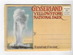 VINTAGE-POSTCARD FOLDER-GEYSERLAND-YELLOWSTONE NATIONAL PARK
