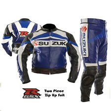 SUZUKI GSX BLUE MOTORBIKE MOTORCYCLE 2 PIECE ARMOURED COWHIDE LEATHER SUIT