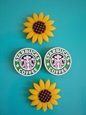 Jibbitz Croc Clog Shoe Charm Button Plug Fit Sandal Bracelet 4 Coffee Sun Flower