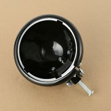 """Black 5.75"""" 5 3/4"""" Headlight Lamp Housing W/mounting Block For Harley Dyna FXDF"""
