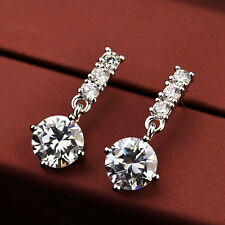 18k White Gold Filled Made with Swarovski Crystal Bridal Dangle Earring XE107
