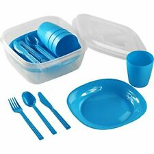 Picnic or Camping Set 16 Piece Set Plastic 3Plates, Cups, Cutlery, Storage, Blue