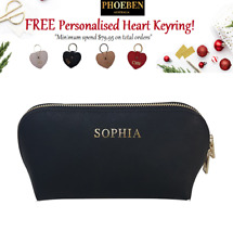 BLACK LARGE COSMETIC CASE Personalised Monogram Saffiano Leather Makeup Hand Bag