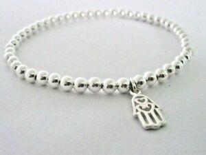 Sterling Silver Beaded Stretch Stacking Bracelet, Hamsa Hand Charm Bracelet