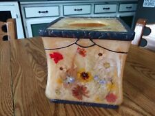 Acrylic Tissue Box Cover in Honey Fresh Fields Model w/Dried Flowers ~ Heavy ~