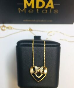 9CT YELLOW GOLD SAPPHIRE & DIAMOND HEART SHAPE PENDANT WITH CHAIN