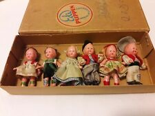 Set Of 6 Antique German Edi 1920's Celluloid Dolls, All Original in box