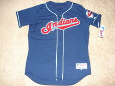 NEW Authentic Official Cleveland Indians Majestic Alternate Blue Jersey 48 NWT