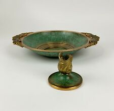 Antique Art Deco vintage Carl Sorensen patinated bronze console bowl & candle