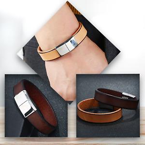 Leather Bracelets Cuff Silver Plated Clasp Wristband Men Jewellery Bracelets