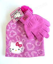 HELLO KITTY Pink Winter Set Leopard Print Beanie Hat & Gloves NWT Child OFSM