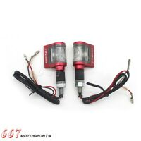 Universal Motorcycle Red LED Turn Signals Indicators Amber Blinker Light - Pair