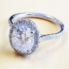 14K White Gold Oval Moissanite and Diamond Engagement Ring Bridal Halo 2.00ctw