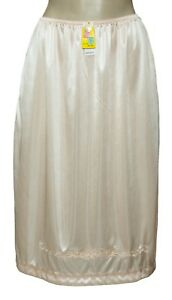 "Women Half Slip 25"" Length White Beige Black 2 Side Open Slits S M L XL 2X 3X"