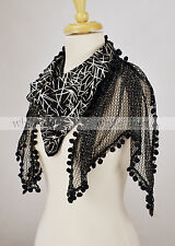 100% Cotton Fishnet Black Scarf Glitter Hairball Fringe Silver Leaf Doulbe Layer