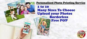 Personalised Photo Printing Service Many Sizes Upload your Photo File