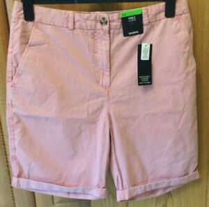 Ladies M & S Cotton Chino Shorts Size 12 Colour Sunset (Dusky Pink) NWT
