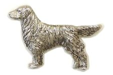 Flat Coated Retriever Brooch, Silver Finish