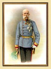 Emperador Franz Josef I. de Austria en uniforme K & K XL 106 Faks en el marco de oro