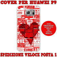 CUSTODIA COVER CASE MORBIDA IN TPU PER HUAWEI ASCEND P9 FANTASIA LOVE CUORE ROS
