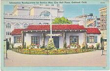 Information Headquarters For Service Men, Oakland, CA, Linen Postcard,