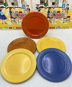 """5 Bauer Los Angeles Ring Ware 8"""" Salad Lunch Plates Rustic Orange Red Blue"""